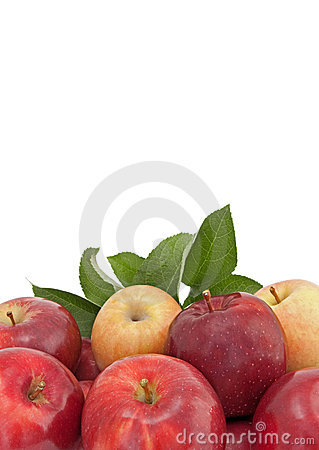 Variety of apples with leaves isolated