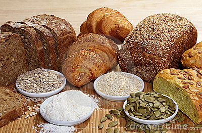 Variety of bread and ingredients