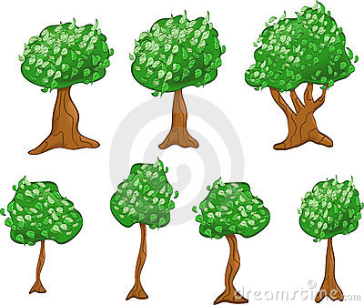 Variety of Cartoon Trees