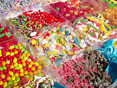 Variety of colorful jelly candies