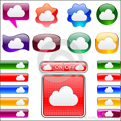 Variety of colors Cloud icon button and tab