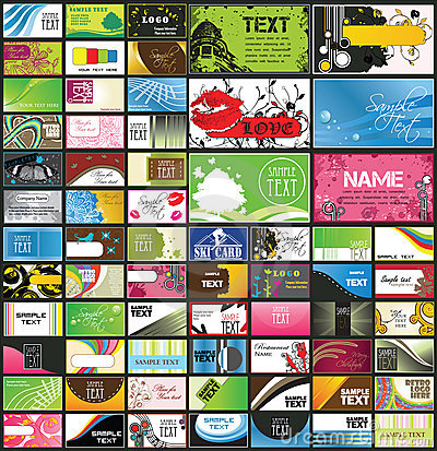 Variety of detailed business cards