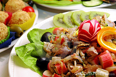 Variety of exotic food and fruits