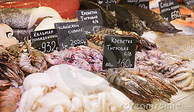 Variety of fish and seafood