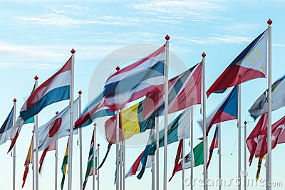 Variety of international flags
