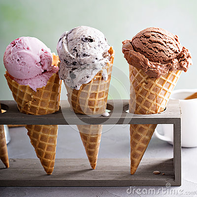 Free Variety Of Ice Cream Cones Stock Photos - 92691523