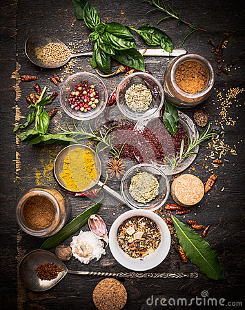 Free Variety Of Oriental Herbs And Spices: Acetic Tree, Curry Powder, Paprika, Cayan Pepper, Sira,Bay Leaf On Spoons And Bowls, Top Vie Royalty Free Stock Images - 60368419