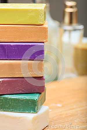 Free Variety Of Soap Bars On Wooden Background Stock Image - 88853071