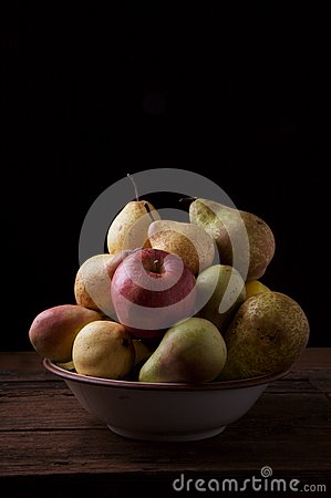 Variety of pears and apples