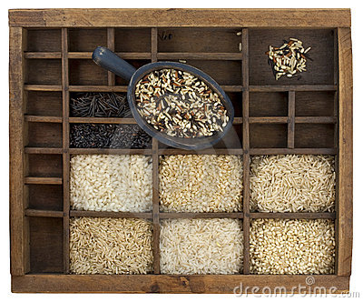 Variety of rice grains in vintage drawer