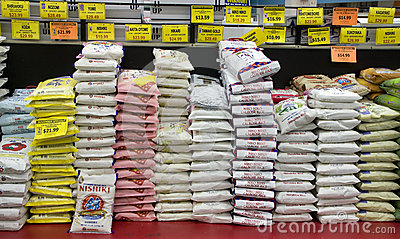 Variety of rice stack up in Asian market Editorial Stock Photo