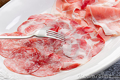 Variety of salami and ham