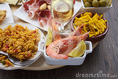 Variety of spanish tapas