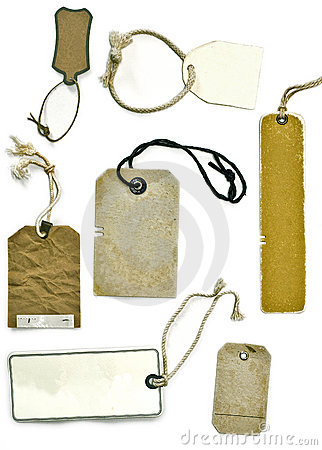 Variety of tags or labels