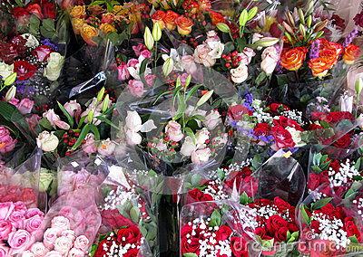 Flower Shop with Rose Bouquets