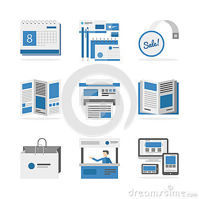 Free Various Advertising Materials Flat Icons Set Stock Photos - 44620003