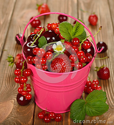 Free Various Berries In A Bucket Stock Photo - 41369580