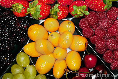 Various berries on the plate