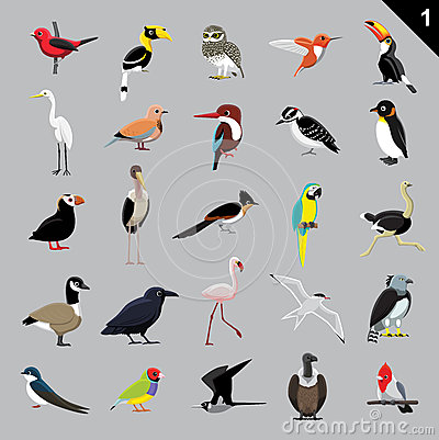 Free Various Birds Cartoon Vector Illustration 1 Stock Photo - 64795550