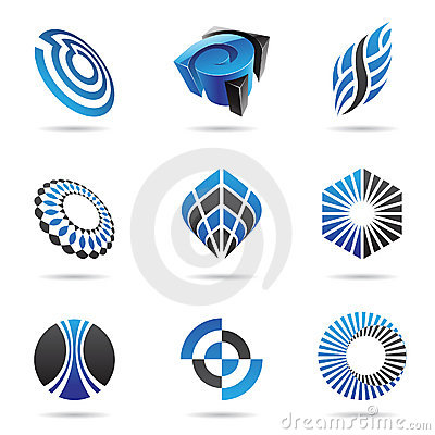 Various blue abstract icons, Set 3
