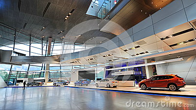 Various BMW vehicles on display at BMW World Editorial Stock Photo