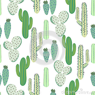 Free Various Cacti Desert Vector Seamless Pattern. Abstract Thorny Plants Nature Fabric Print. Royalty Free Stock Photography - 95822047
