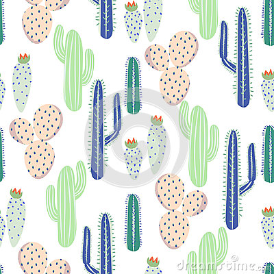 Free Various Cacti Desert Vector Seamless Pattern. Abstract Thorny Plants Nature Fabric Print. Stock Photography - 96349212