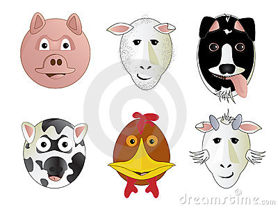 Various Cartoon Farm Animals