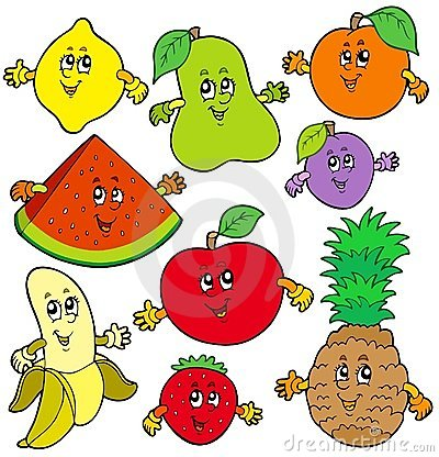 Various Cartoon Fruits Royalty Free Stock Photo - Image: 14291685