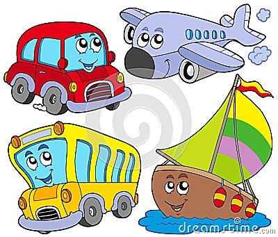 Various cartoon vehicles