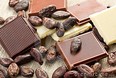 Various chocolate bars with cocoa beans