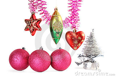 Various christmas-tree decorations and tinsel Stock Photo