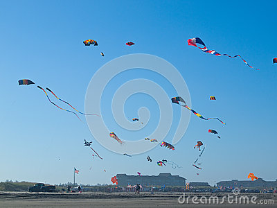 Various Colorful Kites Flying