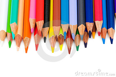 Various colour pencils isolated