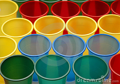 Various colour plastic cups