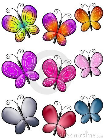 Various Colourful Butterflies Clip Art