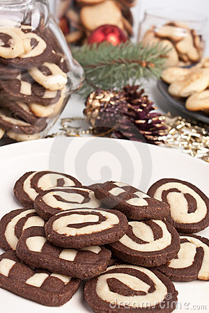Various cookies with pine cones