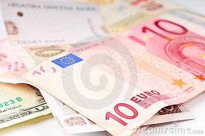 Various Currencies Closeup