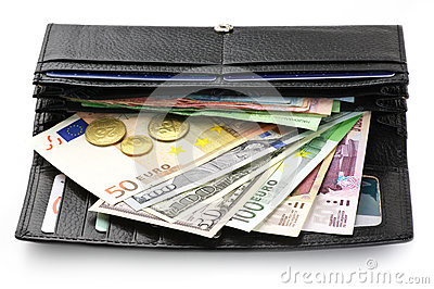 Various currencies in purse