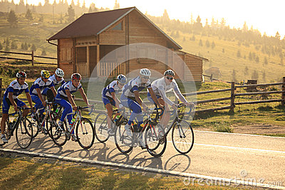 Various cyclists from different teams at Paltinis, Romania Editorial Stock Photo
