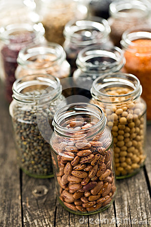 Free Various Dried Legumes In Jars Stock Photos - 60931923