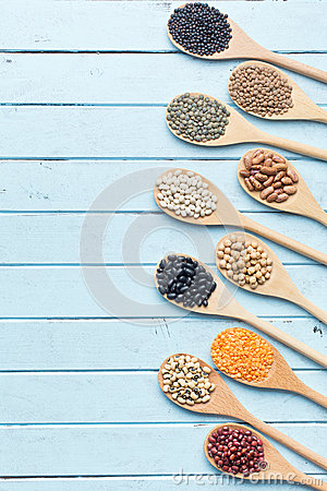 Free Various Dried Legumes In Wooden Spoons Stock Photography - 61117262