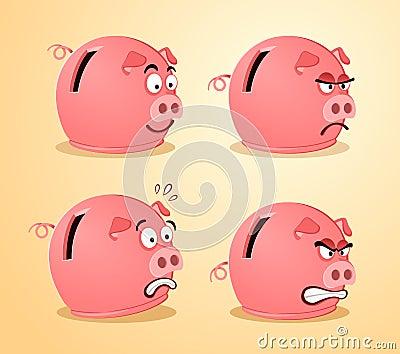 Various expression of piggybank