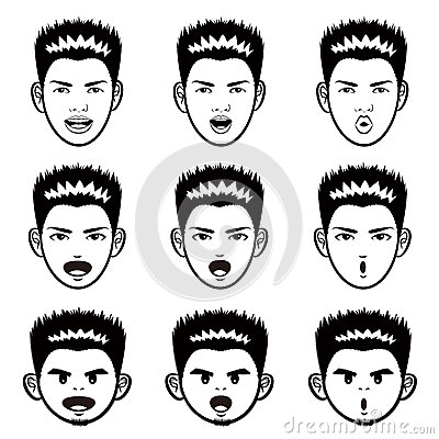 Various facial expressions of a man face Mascot Sets. Emotion Ch