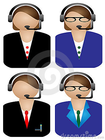 Various female Call operator on white background