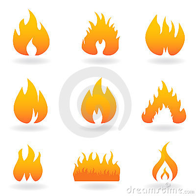 Various flame and fire icons