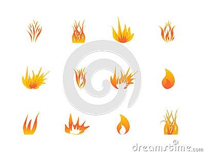 Various flames icon set