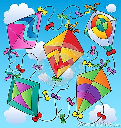 Various flying kites on blue sky