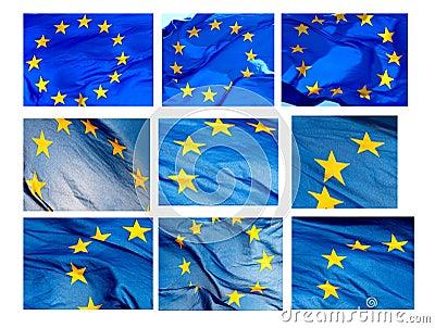 Various fragments of EU flag on  white background