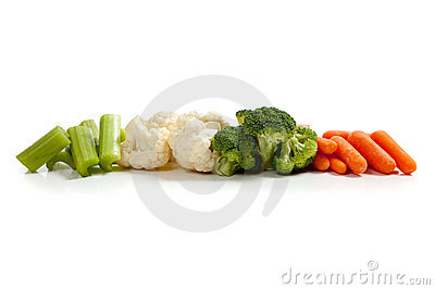 Various fresh vegetables on white